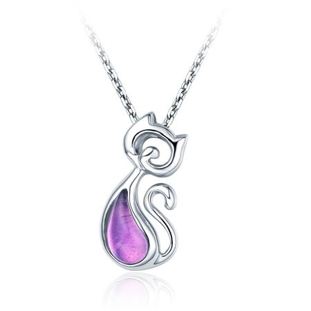 CoCo Cat银925紫水晶吊坠