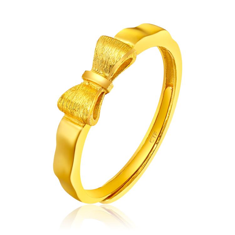 蝴蝶结黄金千足金戒指