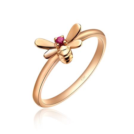 可爱蜜蜂10k金镶红宝石戒指