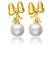 迪士尼经典10K金镶珍珠耳环