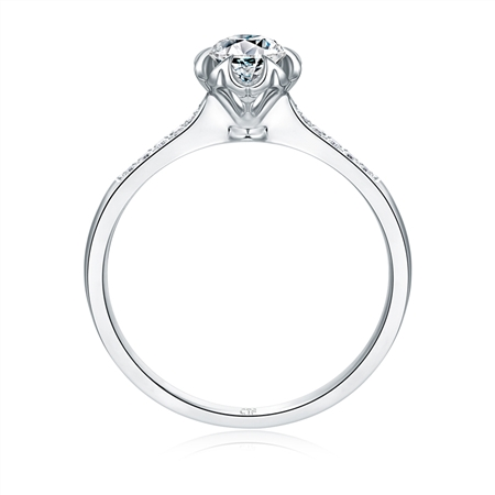 周大福 t mark 18k金镶钻石戒指