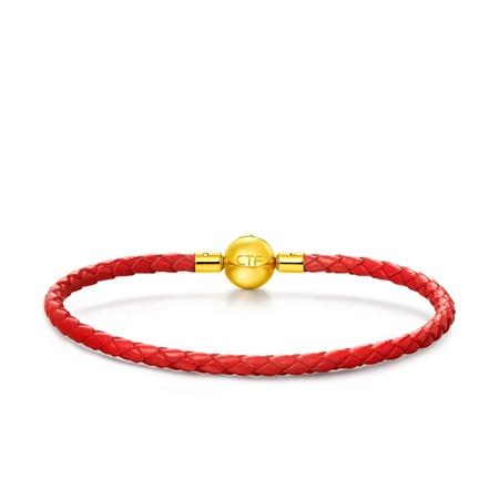 周大福珠宝首饰女款 不锈钢扣手绳皮绳