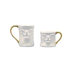 稀奇艺术 x K11 天使浮雕情侣骨瓷杯一对(金色手柄)