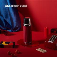 AKS  x K11 苏尼翁(红色)简约小型旅行户外便携复古保温杯保温瓶