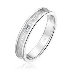 周大福时尚细纹银925钻石戒指
