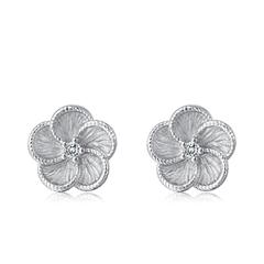 周大福 清新花朵 925银钻石耳钉