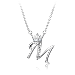 周大福 DREAM系列 花式字母-M 925银镶钻石项链/吊坠