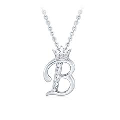 周大福 花式字母B银925镶石挂坠