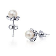 花瓣925银珍珠耳环