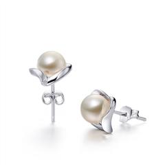 银925镶珍珠耳环/耳钉