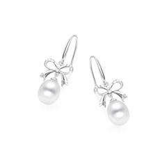 蝴蝶结银925镶珍珠耳环