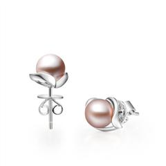 心飞扬银925镶珍珠(紫色)耳钉
