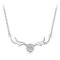 周大福 圣诞麋鹿 PT950铂金钻石项链