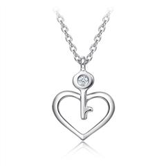 周大福钥匙心形铂金镶钻项链