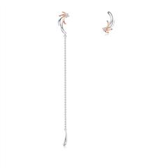 周大福 PT G&W系列 花火PT950铂金18K金耳环-对称款