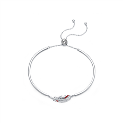 周大福和平天使系列 铂金(鸽血红珐琅)调节珠链镯
