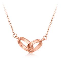 LOVE创意环扣18K玫瑰金项链