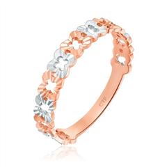 典雅高贵百花齐放双色18K玫瑰金戒指