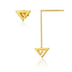 周大福女神系列妙趣三角清新黄色18K金耳环