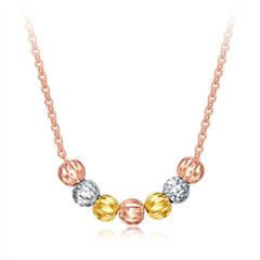 周大福精美三色几何珠子18K金项链套链