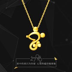 周大福可爱老鼠黄色22K金项链