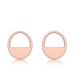 周大福 珠宝首饰简约时尚圆形18K金彩金耳钉耳环