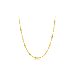 周大福光身时尚水波黄色18K金项链