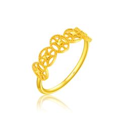 周大福 蕾丝几何组合足金黄金戒指