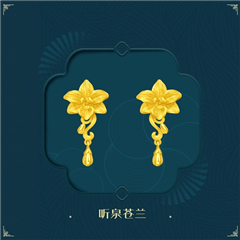 周大福 植物铸花头吊什花黄金耳环