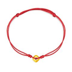【电商专款】周大福 光金硬金小方珠红色编织胶绳足金手链