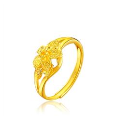 双层花朵足金戒指