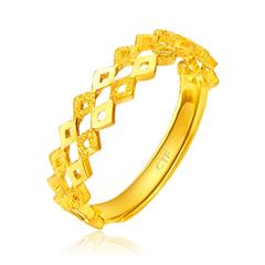 车花棱形黄金足金戒指