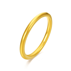 周大福简约至上足金黄金戒指(另有升级版F222783)