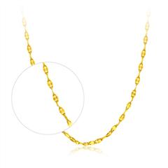 时尚镂空瓦片黄金足金项链