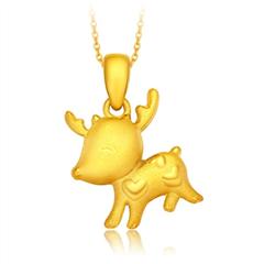 超萌小鹿黄金足金吊坠