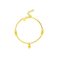 周大福葫芦形足金黄金手链