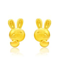 光沙兔仔黄金足金耳环