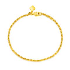 经典麻绳黄金足金手链