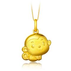 周大福可爱生肖猴足金黄金吊坠