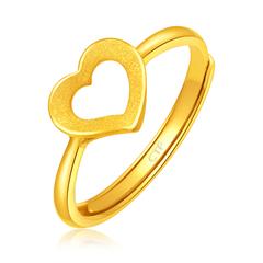 周大福甜蜜爱心足金黄金戒指