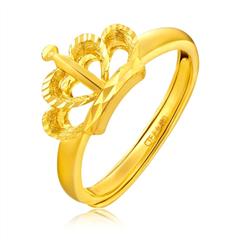 周大福靓丽皇冠足金黄金戒指