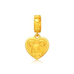 周大福十二生肖生肖鼠转运珠足金黄金吊坠
