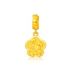 周大福十二生肖兔转运珠足金黄金吊坠