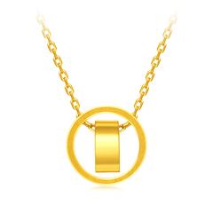 周大福时尚创意足金黄金项链