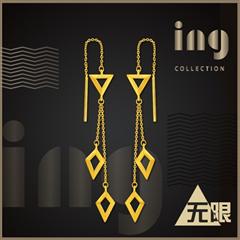 ing系列·无限 时尚几何菱形足金黄金耳钉耳线