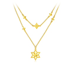 周大福时尚星星足金黄金项链