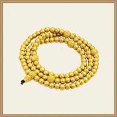 周大福 古法传承系列 沙面老金珠108顆珠项链足金黄金手链