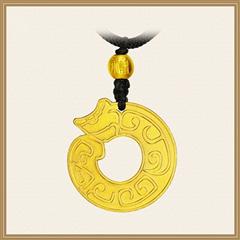 周大福 古法传承系列 沙面龙形古法黄金足金吊坠