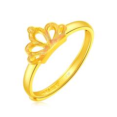 周大福珠宝首饰皇冠足金黄金戒指