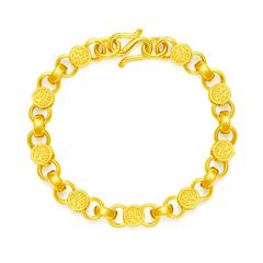 周大福經典時尚足金黃金手鏈